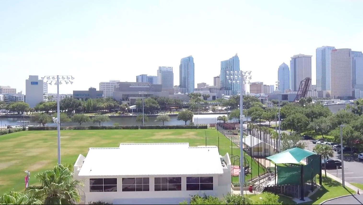 View of downtown Tampa over Tampa Prep's athletic field