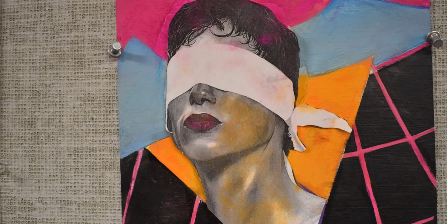 student artwork pencil drawing of boy with blindfold and lipstick