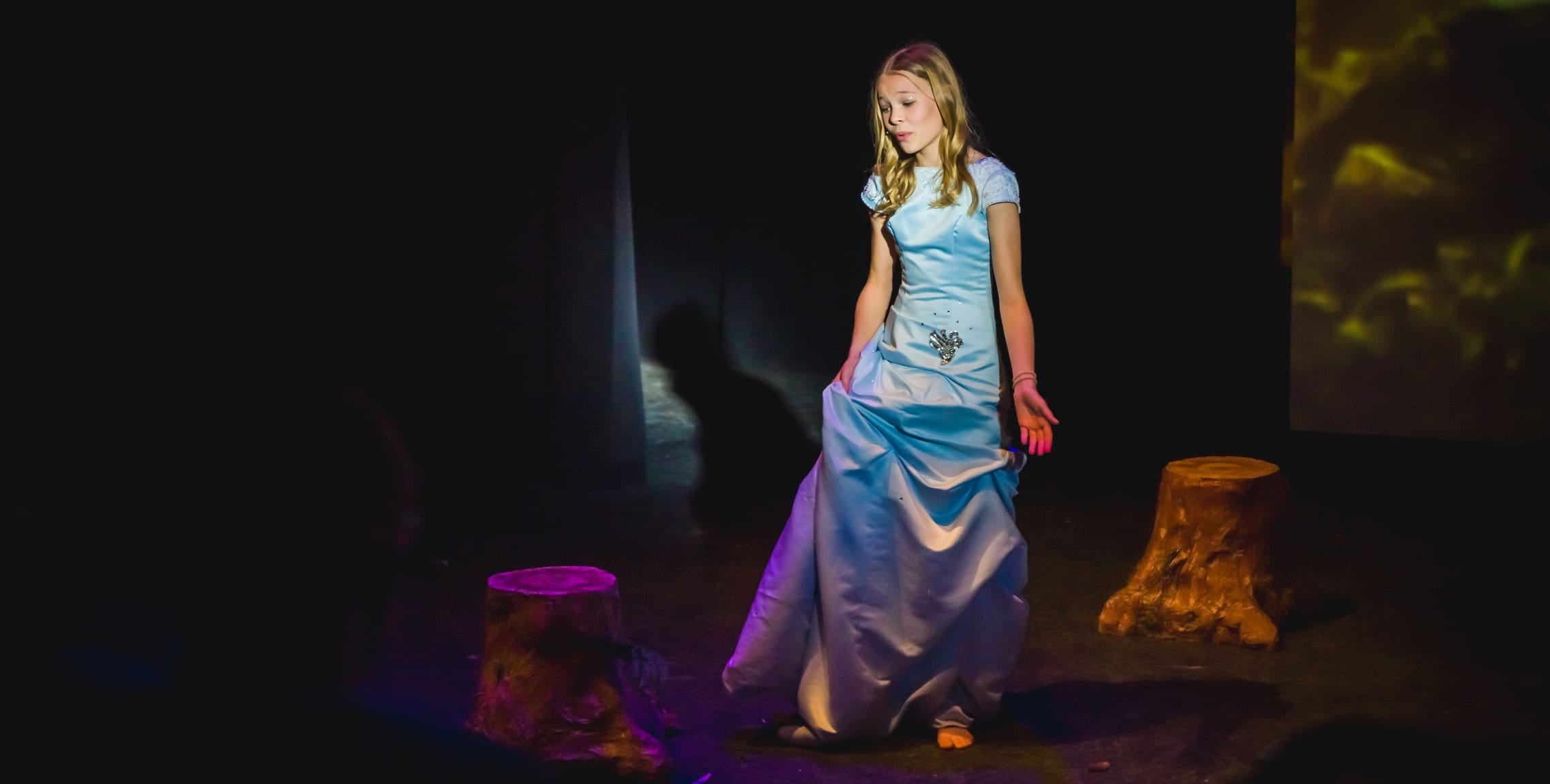 Sophia Burge middle school actress performing on stage in Into the Woods