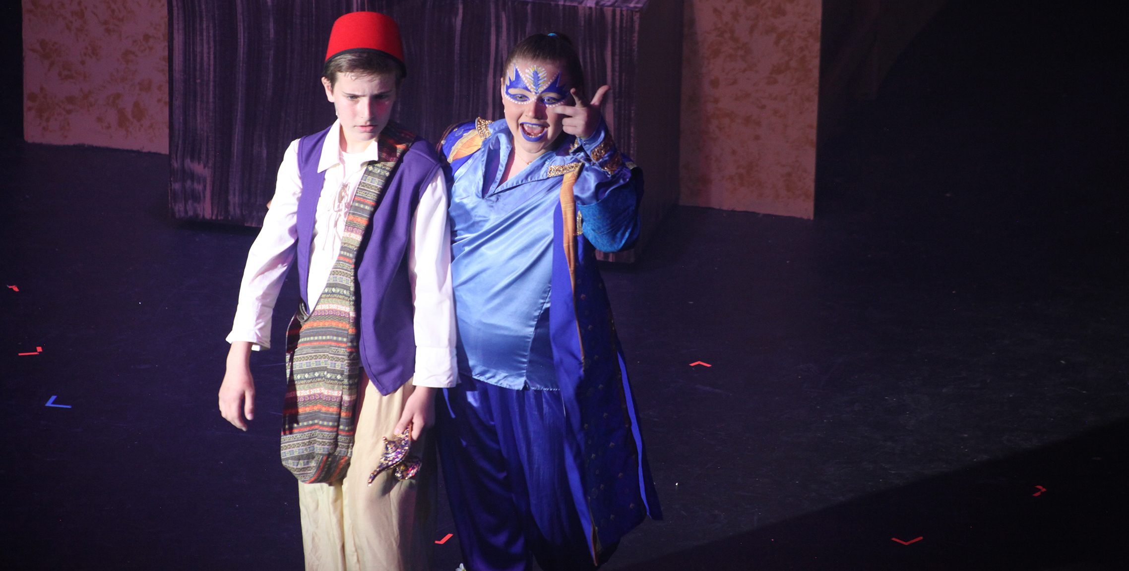 Haven S as the Genie in the middle school production of Aladdin Jr.