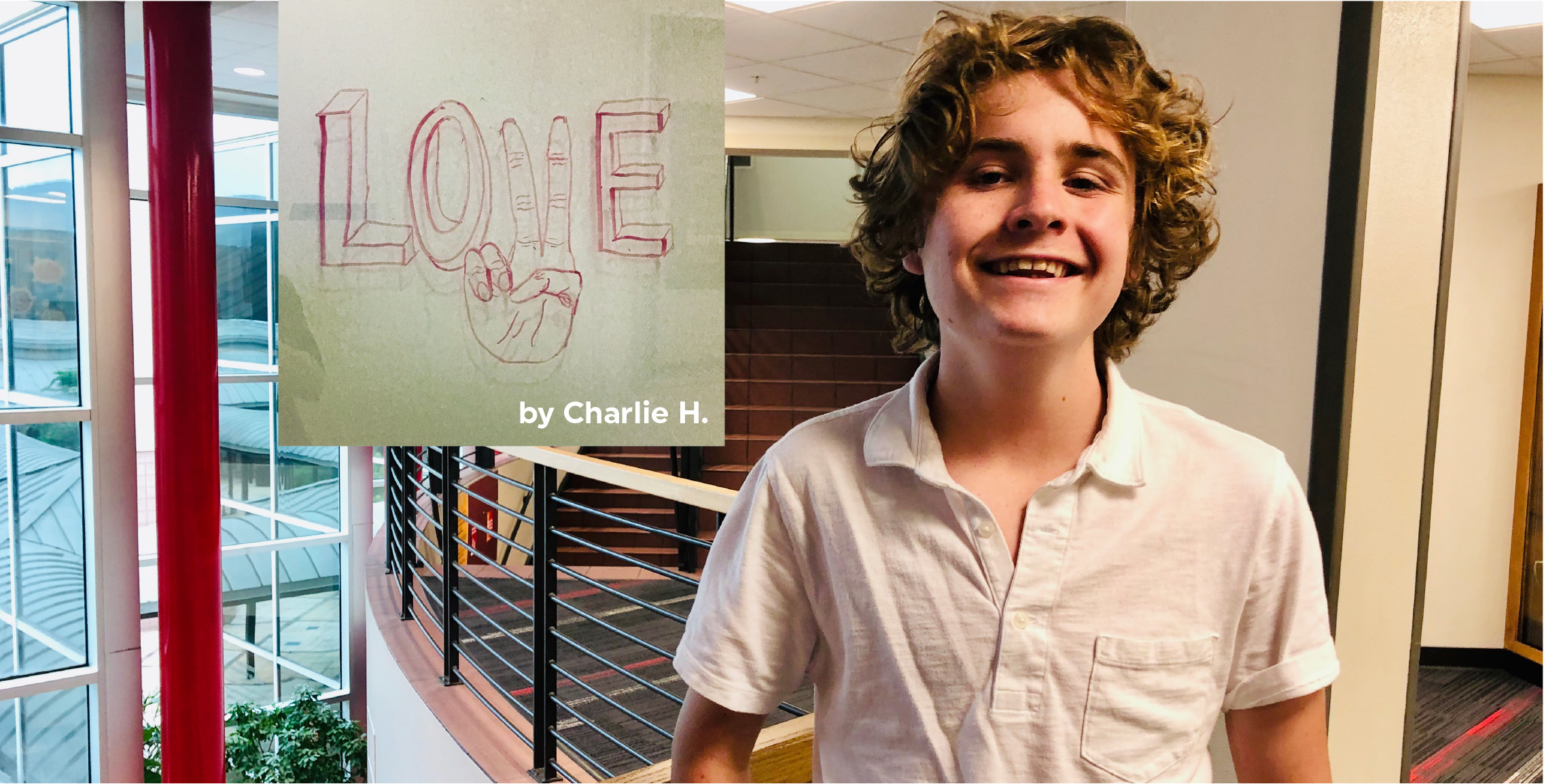 Charlie H, art student, standing in hallway at Tampa Prep