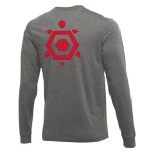 LS tee grey screen red back