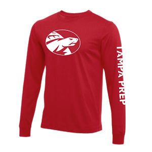 LS tee red screen white front