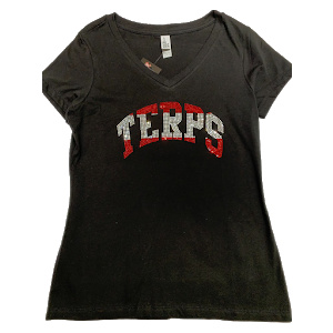 SS tee black with silver and red bling terps