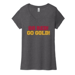 SS tee grey v neck red gold front