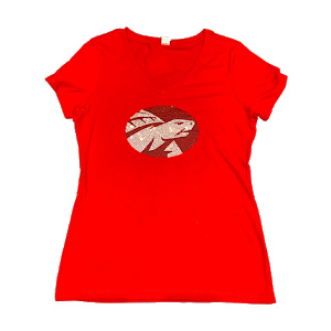SS tee red with red and white bling logo