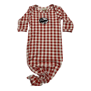 knotted infant onesie plaid