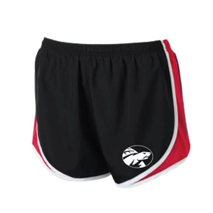 ladies shorts red and black