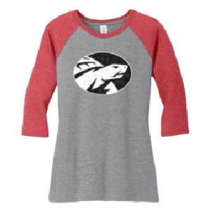 raglan red grey womens front