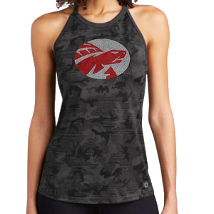 tank grey camo with red and grey bling logo